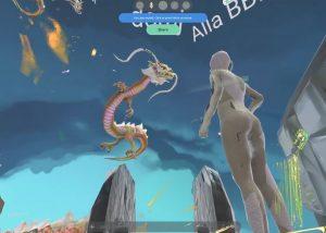 Virtual-Reality-Raum mit einem Drahcne- und einem Mensch-Avatar.