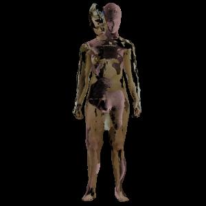 Braun-rosa farbener Avatar mit menschlichen Umrissen vor weißem Hintergrund.