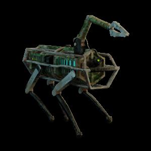 Spinnen-Roboter mit Greifzangen-Arm vor weißem Hintergrund.