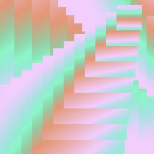 Grafische Elemente mit Farbverlauf von Rosa über Orange zu Grün.