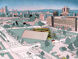 Eine bunte Zeichnung mit Stadt im Hintergrund. Im Vordergrund ein rundes gebäude,