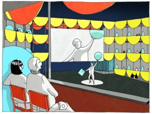 Perspektive aus einer Loge des Sommerbaus. Das Gerüst aus Logen bildet einen Raum. In diesem befindet sich die Bühne und ein großer Bildschirm.