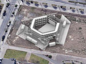 Ein animiertes 3D Modell des Sommerbaus aus der Vogelperspektive. Das 3D Modell ist am geplanten Standort. Der Sommerbau besteht aus einem inneren Gerüst. An die Oberkanten des sechseckigen Gerüsts sind an drei Seiten Schrägen angelehnt.