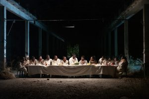 Metaponto, Italy. Jesus (Yavn Sagnet, center) and his Apostles at the scene of the Last Supper. Original setting.