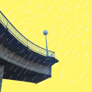 Half a bridge with railings and lantern against a yellow background.