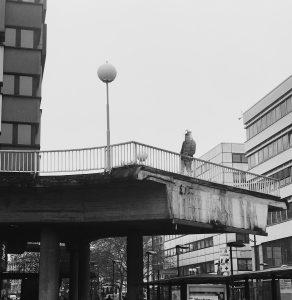 In Schwarz-weiß: Eine halbe Brücke mit Geländer und Laterne inmitten einer Stadt, auf der eine Person mit Taubenkopfbedeckung steht.