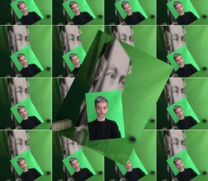 Eine Foto-Collage von Flo Thamer vor einem grünen Hintergrund vor dem Porträt von Hilma Af-Klimt. Das Bild ist im Hintergrund 16-mal gedoppelt.