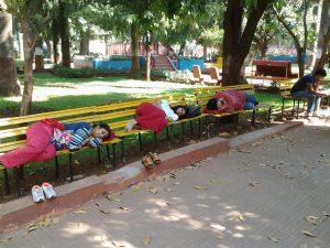 Drei weiblich gelesene Personen liegen schlafend auf Parkbänken in einem Park.