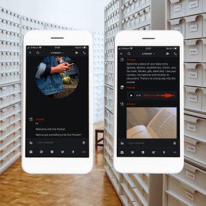 Eine Foto-Collage: Im Hintergrund ist ein Flur eines Archivs mit Regalen zu sehen. Im Vordergrund gibt es zweimal ein Smartphone, auf dem Nachrichten und Bilder angezeigt werden.