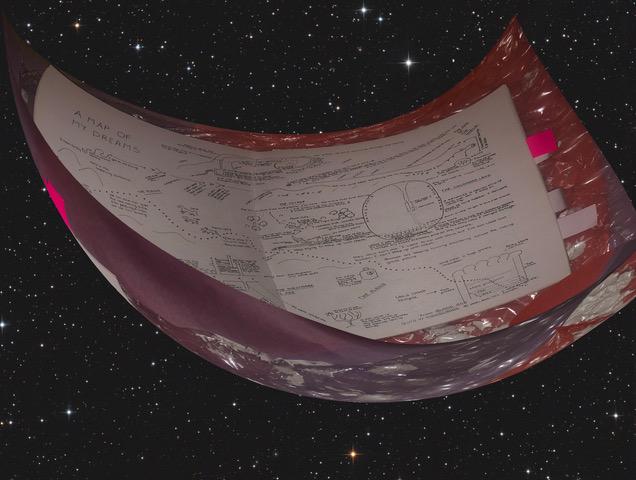 Animiertes Bild vom Weltall, in der Mitte ein großer augeshcnittener Plata, der wie eine Schale einen Zettel mit