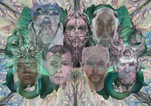 Fotocollage mit den Gesichtern von sieben Menschen. Darüber liegt eine Bildebene mit verschiedenen Masken, die mit den Gesichtern morphen. Im Hintergrund ein buntes kaleidoskop-artiges Muster.